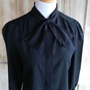 Vintage Black Bow Tie Blouse